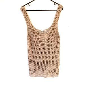 Halogen Open Knit Scoop Sweater Tank Top Tan M